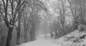 Snowy road Asturias